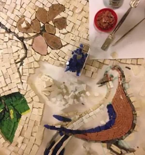Mosaic in progress at Ashton Park Mosica Making Workshop
